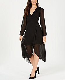 LEYDEN Sheer Long-Sleeve Wrap Dress