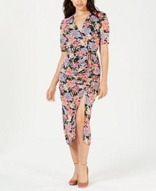 LEYDEN Printed Ruched Midi Dress