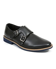 Deer Stags Little and Big Boys Harry Dress Comfort Fashion Hook and Loop Easy Enclosure Double Monk strap