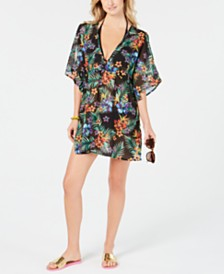 Miken Juniors' Printed Chiffon Dolman-Sleeve Cover-Up