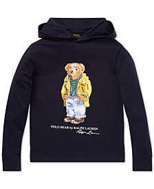 Polo Ralph Lauren Big Boys Polo Bear Hooded Long-Sleeve Cotton T-Shirt