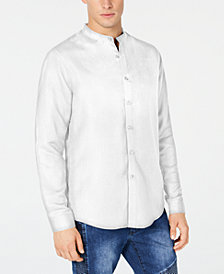 I.N.C. Men's Side Stripe Band-Collar Shirt, Created for Macy's