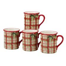 Certified International Holiday Wishes 4-Pc. Plaid Mug