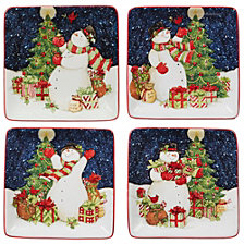 Certified International Starry Night Snowman 4-Pc. Canape Plate asst.