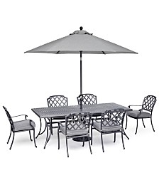 "Grove Hill II Outdoor Cast Aluminum 7-Pc. Dining Set (84"" X 42"" Table & 6 Dining Chairs) With Sunbrella® Cushions, Created For Macy's"