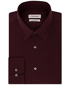 2ef08b3802a Calvin Klein Men s STEEL Classic Regular Fit Non-Iron Performance Stretch  Pattern Dress Shirt