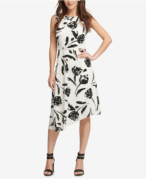DKNY Floral-Printed Scuba Fit & Flare Dress, Created for Macy's