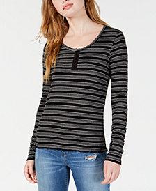 Hippie Rose Juniors' Striped Henley T-Shirt