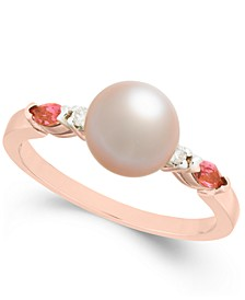 Pink Cultured Freshwater Pearl (7mm), Pink Tourmaline (1/5 ct. t.w.) & Diamond Accent Ring in 14k Rose Gold