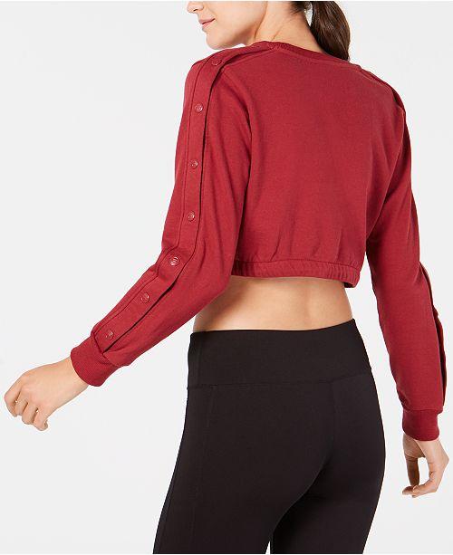af68713421551 Fila Snap-Sleeve Logo Cropped Sweatshirt & Reviews - Tops - Women ...