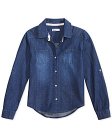 Epic Threads Big Girls Chambray Button Down Shirt, Created for Macy's