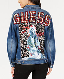 GUESS Bengal Biker Embellished Denim Jacket