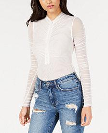 GUESS Lala Embellished Semi-Sheer Bodysuit
