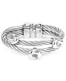 White Topaz Double Row Cable Ring in Stainless Steel and Sterling Silver