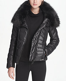 DKNY Sport Faux-Fur Collar Short Puffer Jacket, Created for Macy's