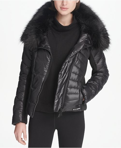 bc7009bcc DKNY Sport Faux-Fur Collar Short Puffer Jacket, Created for Macy's ...