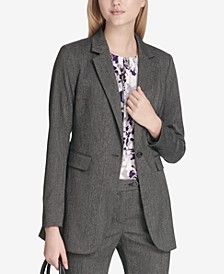 Petite Herringbone One-Button Jacket