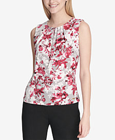 Calvin Klein Printed Pleat-Neck Top