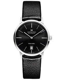 Unisex Swiss Automatic Intra-matic Black Leather Strap Watch 38mm