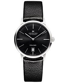 Hamilton Unisex Swiss Automatic Intra-matic Black Leather Strap Watch 38mm