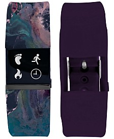 iFitness Women's Pulse Navy Marble Print & Violet Silicone Activity Tracker Smart Watch 18x20mm
