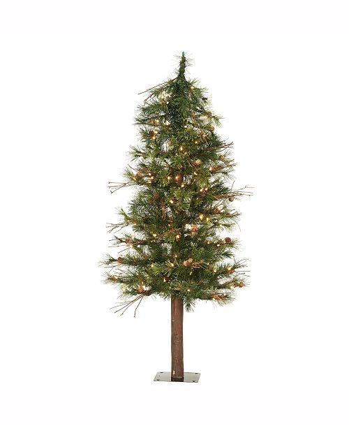 Vickerman 5 ft Mixed Country Alpine Artificial Christmas Tree With 150 Clear Lights