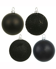"2.75"" Black 4-Finish Ball Christmas Ornament, 20 Per Box"
