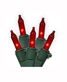 Vickerman 100 Red Mini Light On Green Wire, 33' Christmas Light Strand