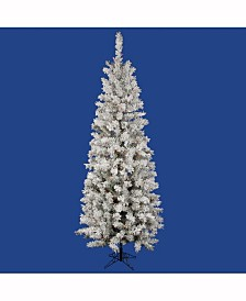 Vickerman 5.5 ft Flocked Pacific Artificial Christmas Tree With 200 Multi-Colored Led Lights