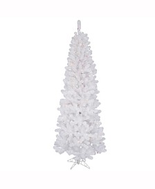 Vickerman 4.5 ft White Salem Pencil Pine Artificial Christmas Tree With 150 Multi-Colored Lights