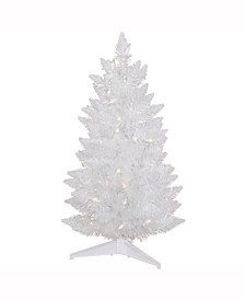 30 inch Sparkle White Spruce Pencil Artificial Christmas Tree With 50 Clear Lights