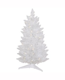 Vickerman 30 inch Sparkle White Spruce Pencil Artificial Christmas Tree With 50 Clear Lights