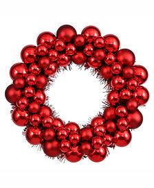 "Vickerman 12"" Red Shiny/Matte Ball Wreath"
