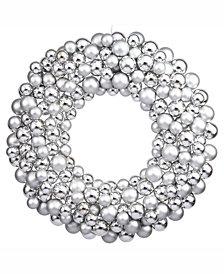 "Vickerman 22"" Silver Shiny/Matte Ball Wreath"