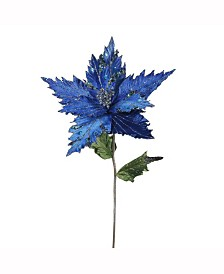 "Vickerman 26"" Blue Velvet Poinsettia Artificial Christmas Pick, 3 Per Bag"