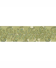 """4"""" Apple Green Dupion With Sequin Leaf Christmas Ribbon"""