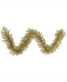 Vickerman 9 ft Gold-Silver Tinsel Artificial Christmas Garland With 100 Clear Lights