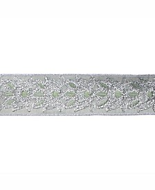 """2.5"""" Sage Dupion With Gold Sequin Floral Christmas Ribbon"""