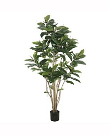 6' Potted Artificial Green Rubber Tree Features 185 Leaves
