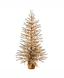 36 inch Mocha Artificial Christmas Tree With 50 Warm White Led Lights