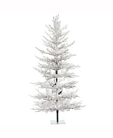 7 ft X 40 inch Flocked Winter Twig Pine Artificial Christmas Tree