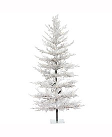 Vickerman 7 ft X 40 inch Flocked Winter Twig Pine Artificial Christmas Tree