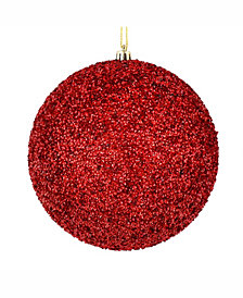 """6"""" Red Beaded Ball Ornament Drilled"""