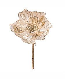 "Vickerman 14"" Ivory Faux Pearl Glitter Magnolia 8"" Flower Head, Set of 3"
