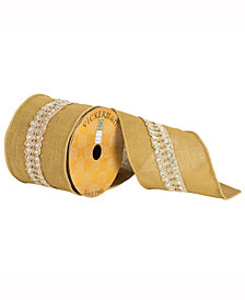 """4"""" X 10Yd Gold Ribbon With Diamond Lace Center On Dupion"""