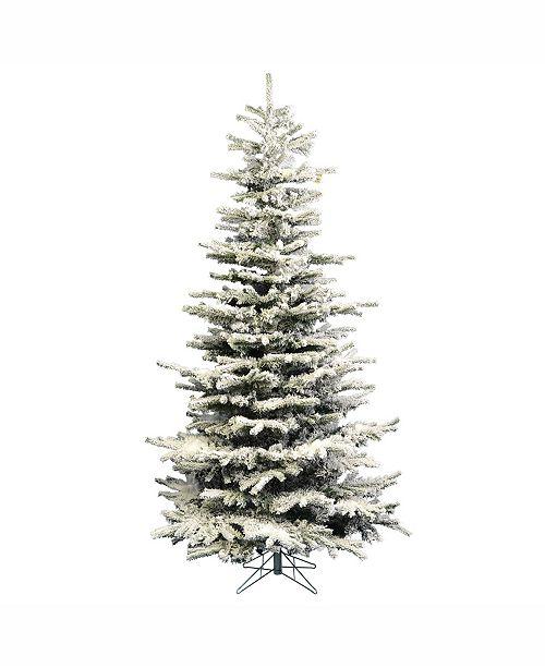 8 Ft Flocked Christmas Tree: Vickerman 8.5 Ft Flocked Sierra Fir Slim Artificial