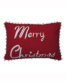 Vickerman Decorative Pillow Features Bright & Whimsical Merry Christmas Logo Pillow