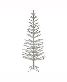 "Vickerman 7' X 30"" Silver Feather Tree"
