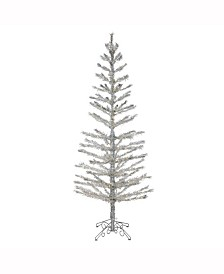 "Vickerman 7' X 30"" Silver Feather Tree"