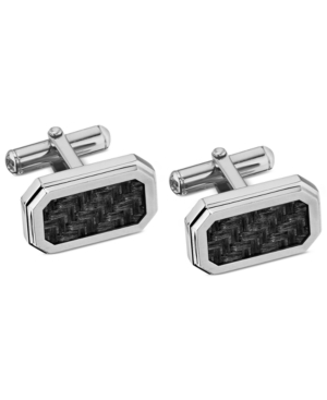 Stainless Steel Cuff Links, Carbon Fiber Inlay Cuff Links
